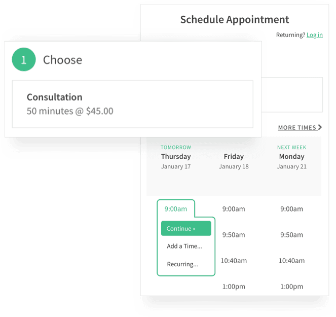 Client Scheduling a Consultation Appointment