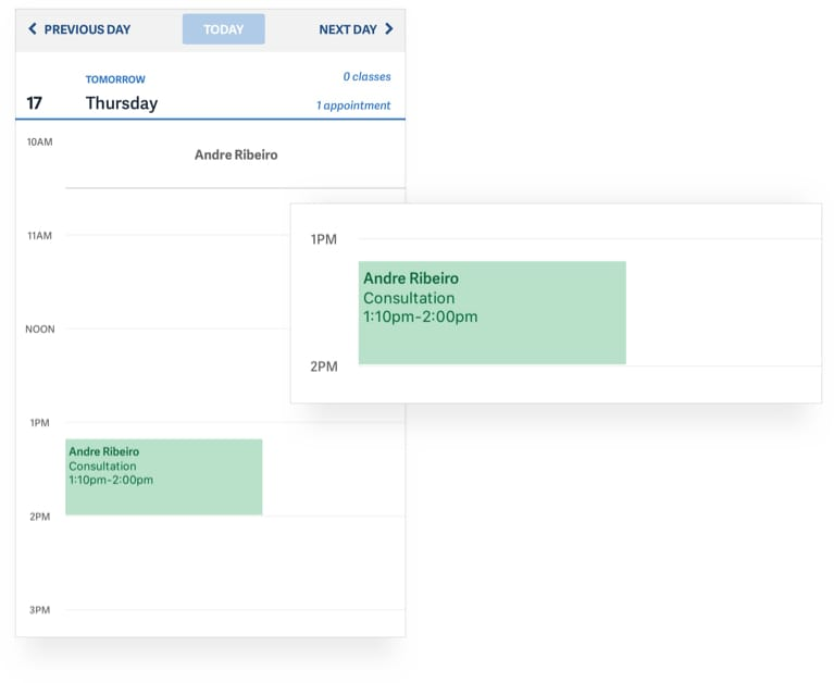 Appointments sync to your personal calendar